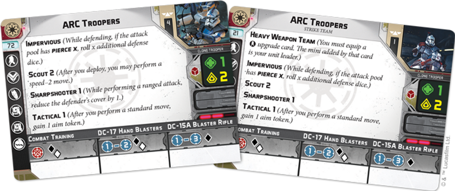 Star Wars: Legion - ARC Troopers Unit Expansion cards