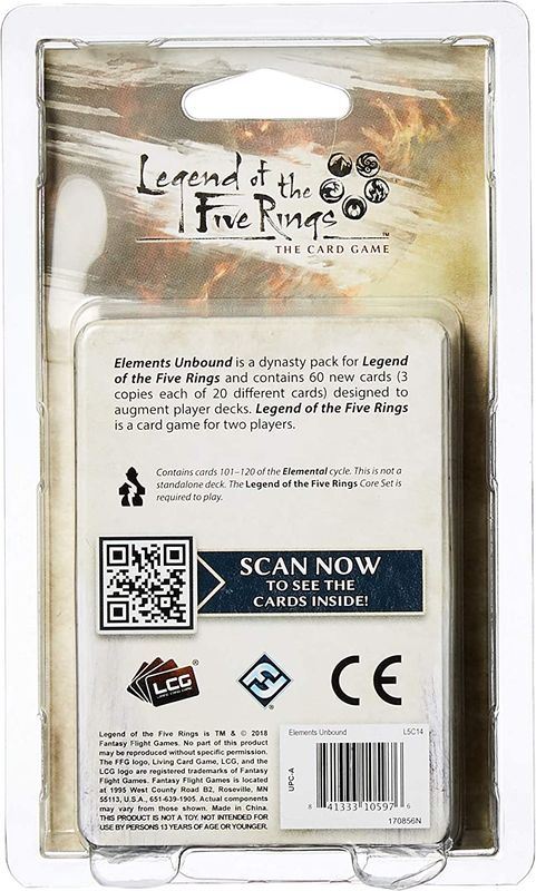 Legend of the Five Rings: The Card Game - Elements Unbound back of the box