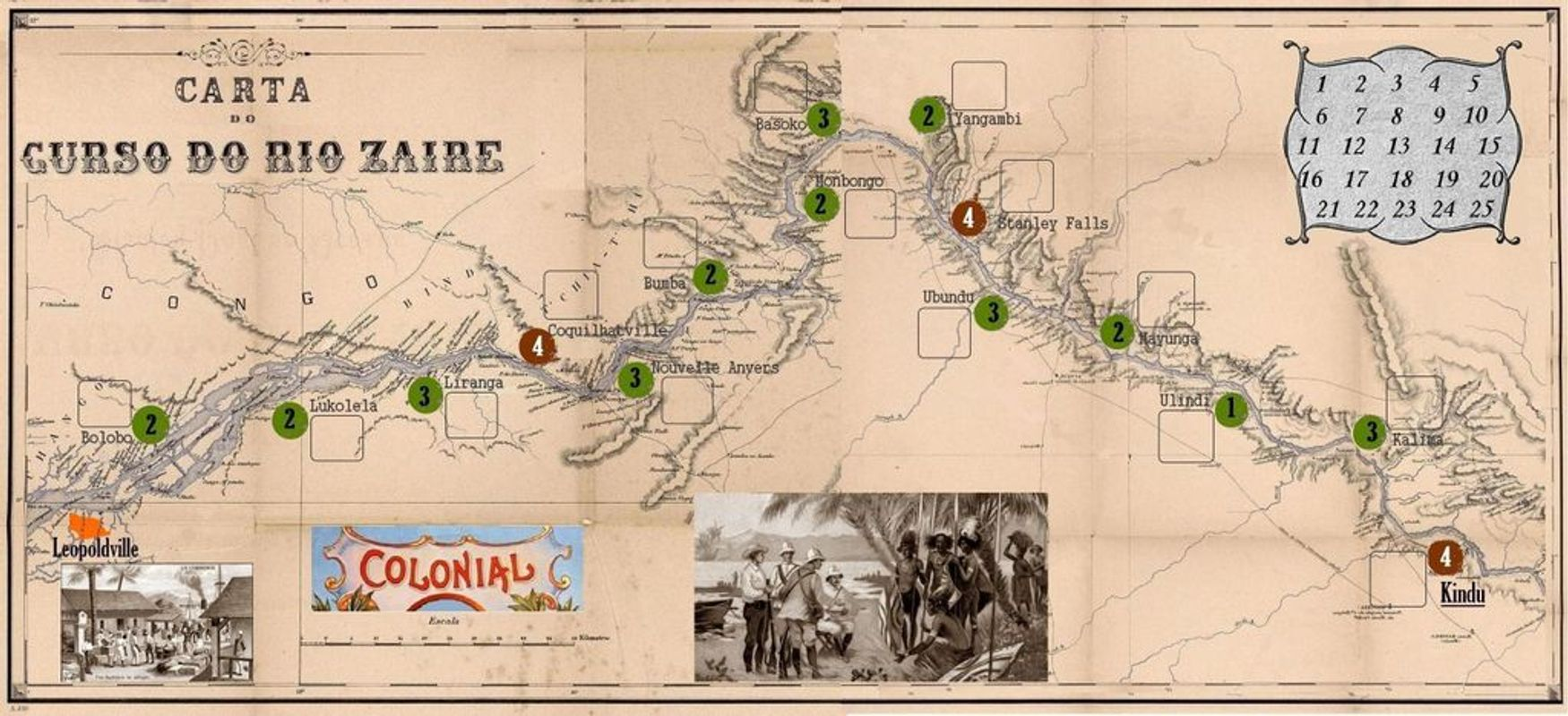 Expedition: Congo River 1884 game board