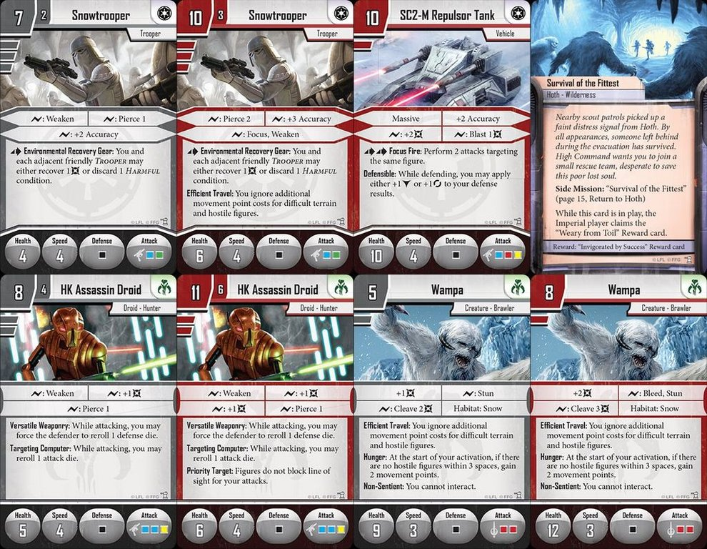 Star Wars: Imperial Assault - Return to Hoth cards