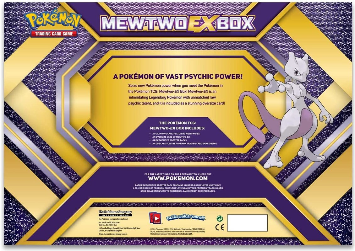 Pokemon Trading Card Game Mewtwo EX Box C12 back of the box