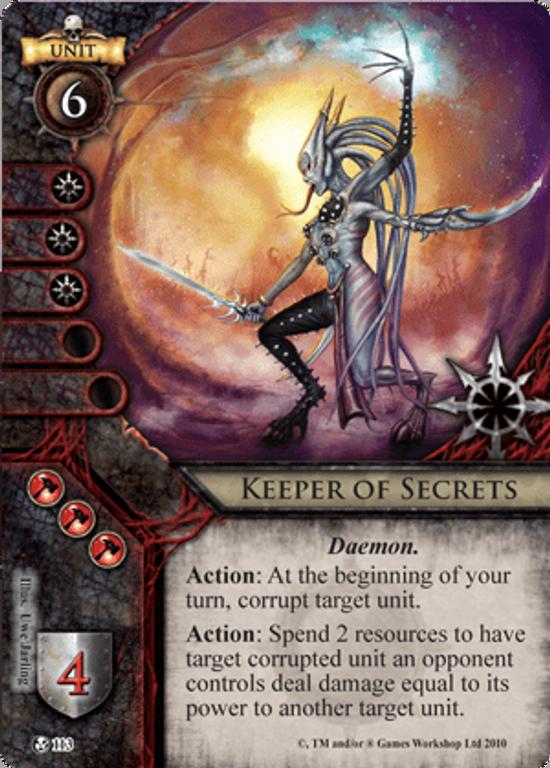 Warhammer: Invasion - Fiery Dawn keeper of secrets card