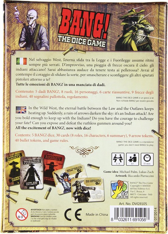 Bang! The Dice Game back of the box