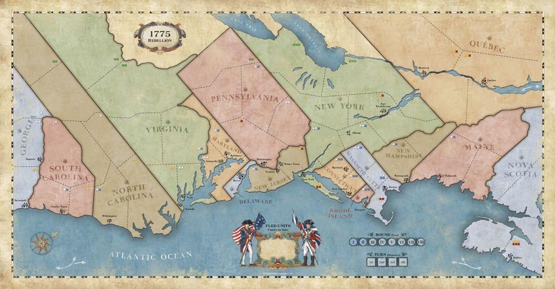 1775: Rebellion game board