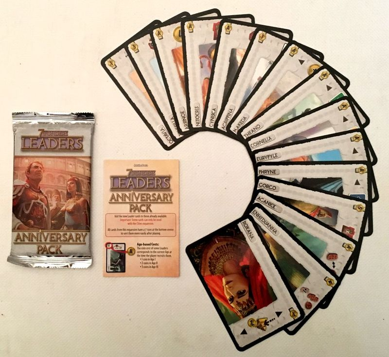 7 Wonders: Leaders Anniversary Pack components