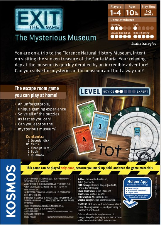 Exit: The Game - The Mysterious Museum back of the box