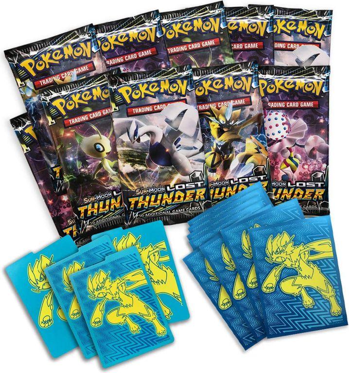 Pokemon Sun & Moon Lost Thunder Elite Trainer Box components