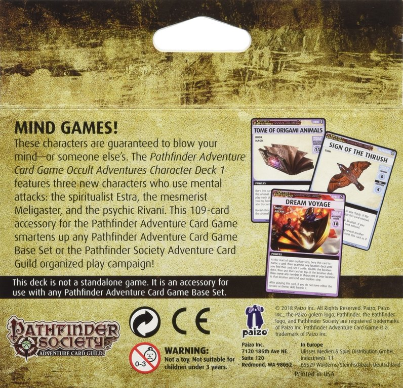 Pathfinder Adventure Card Game: Occult Adventures Character Deck 1 back of the box