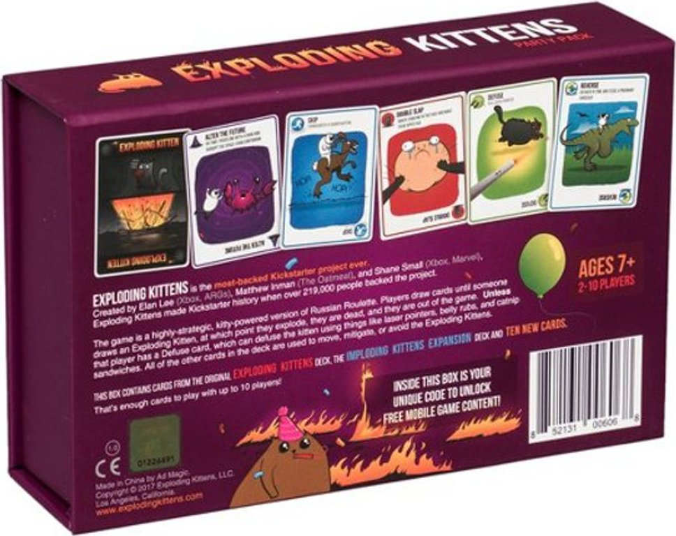 Exploding Kittens: Party Pack back of the box