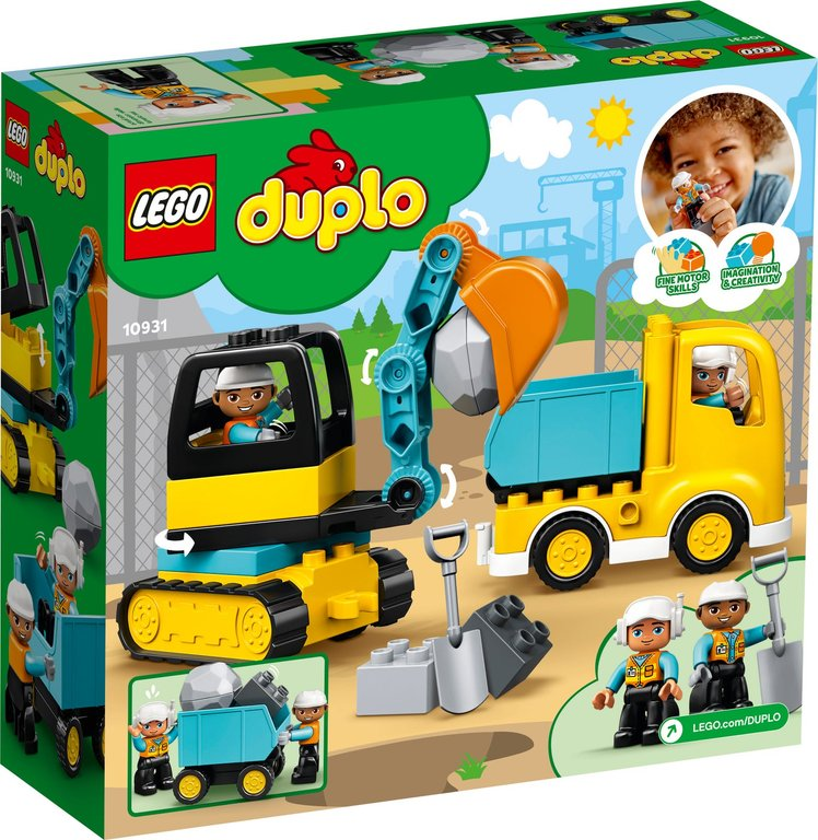 LEGO® DUPLO® Truck & Tracked Excavator back of the box