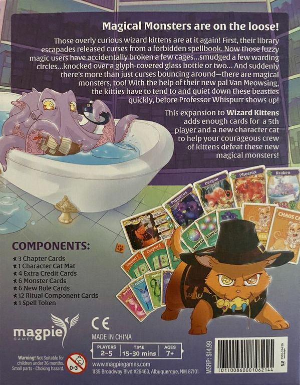 Wizard Kittens: Magical Monsters Expansion back of the box