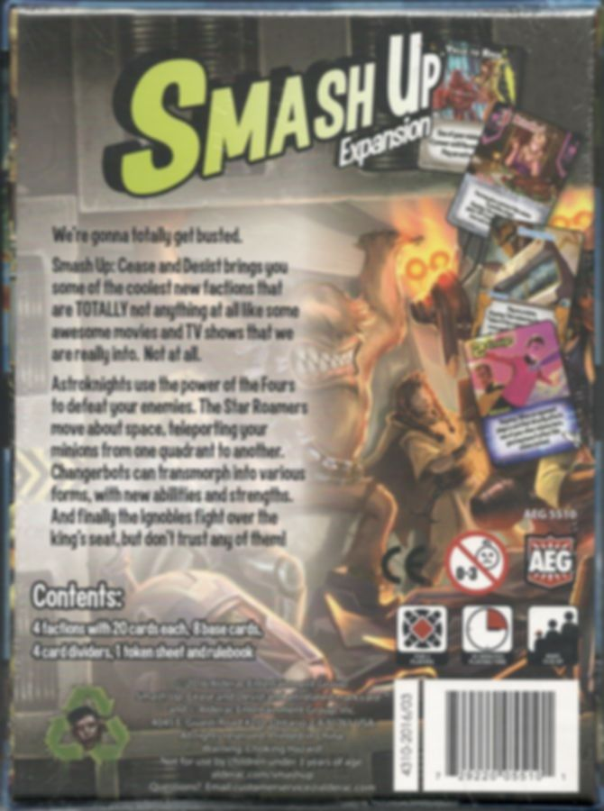 Smash Up: Cease and Desist back of the box