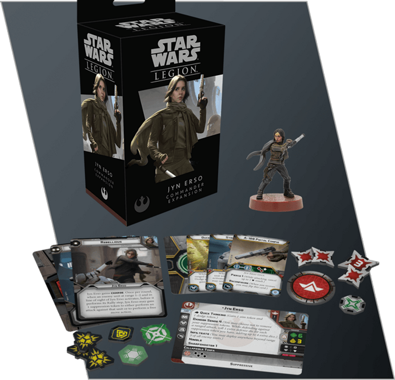 Star Wars: Legion – Jyn Erso Commander Expansion components