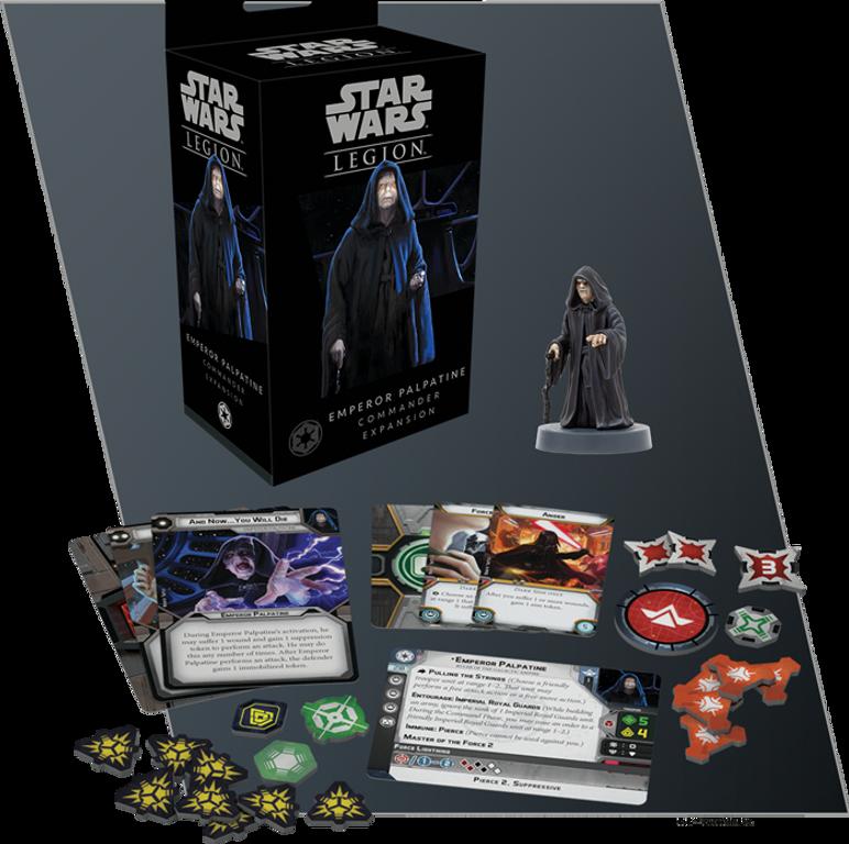 Star Wars: Legion – Emperor Palpatine Commander Expansion components