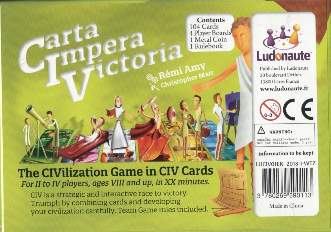 CIV: Carta Impera Victoria back of the box