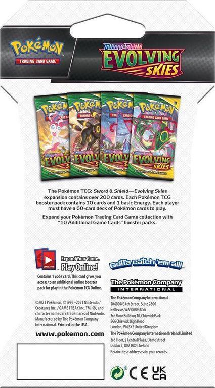 Pokémon Sword & Shield Evolving Skies Sleeved Booster back of the box