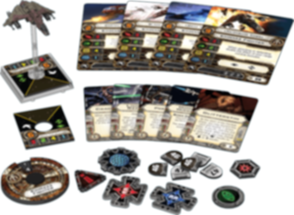 Star Wars: X-Wing Miniatures Game - Kihraxz Fighter Expansion Pack components