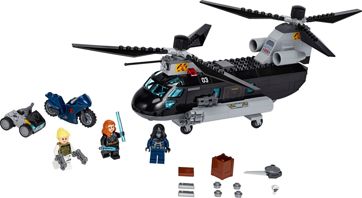 LEGO® Marvel Black Widow's Helicopter Chase components