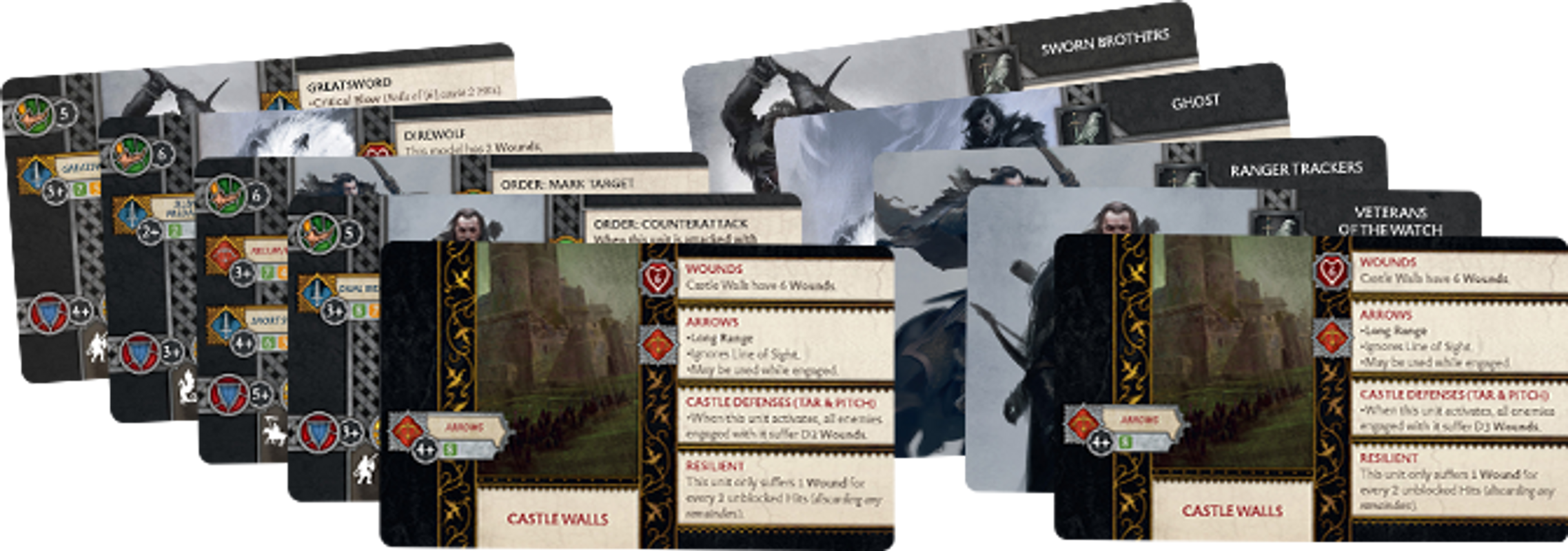 A Song of Ice & Fire: Tabletop Miniatures Game - Night's Watch Starter Set cards