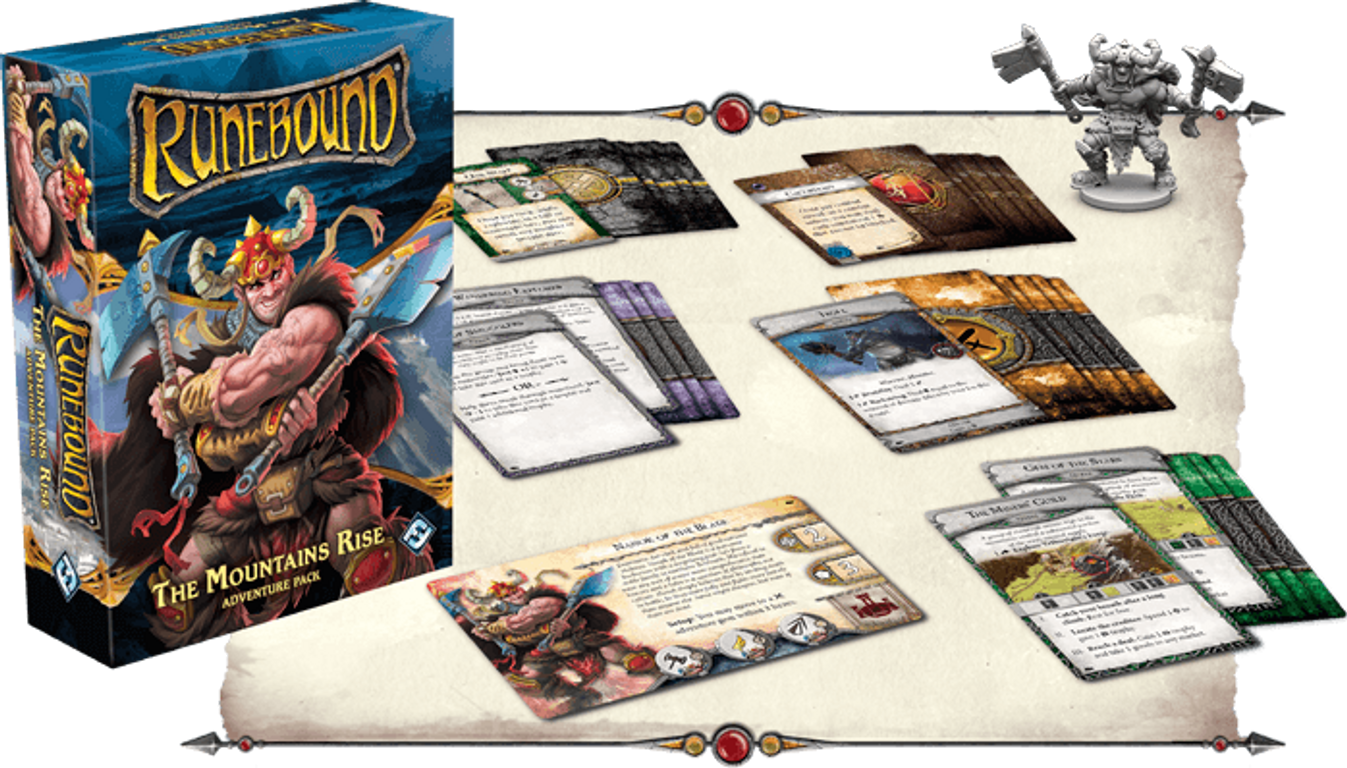 Runebound (Third Edition): The Mountains Rise - Adventure Pack components