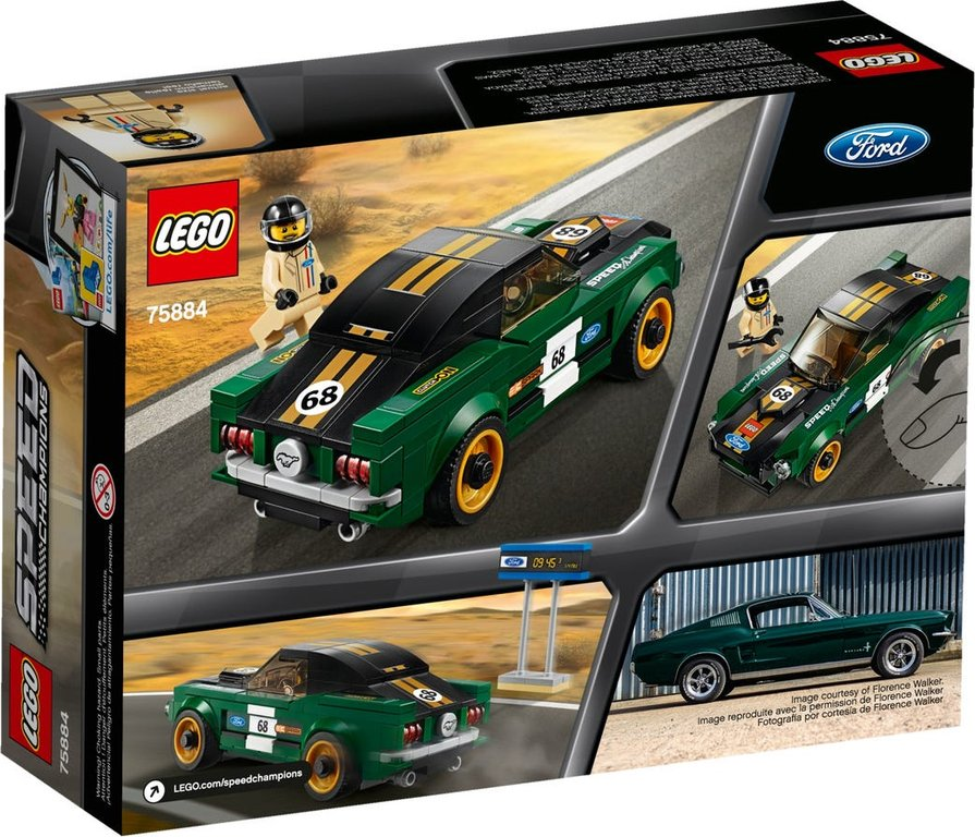 LEGO® Speed Champions 1968 Ford Mustang Fastback back of the box