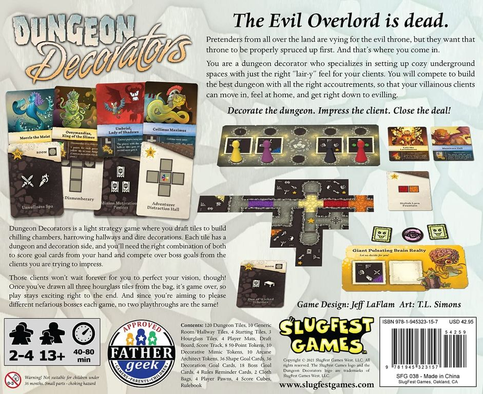 Dungeon Decorators back of the box