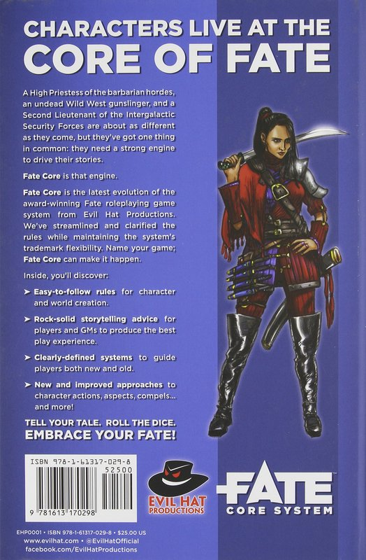 Fate: Core System back of the box
