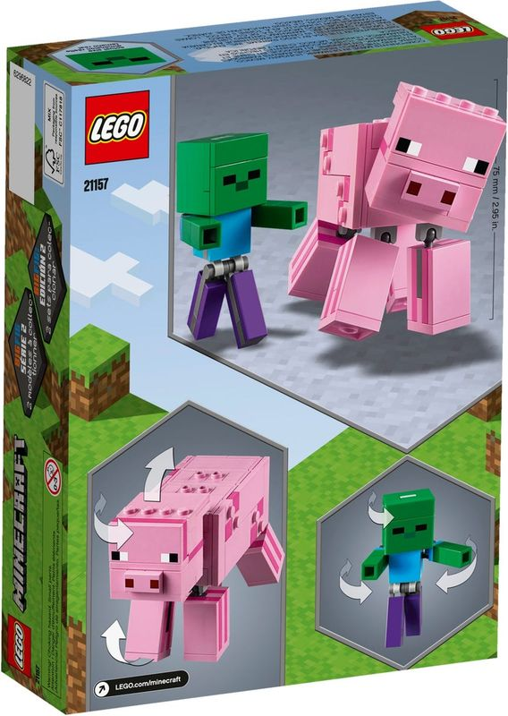 LEGO® Minecraft Bigfig Pig with Zombie baby back of the box