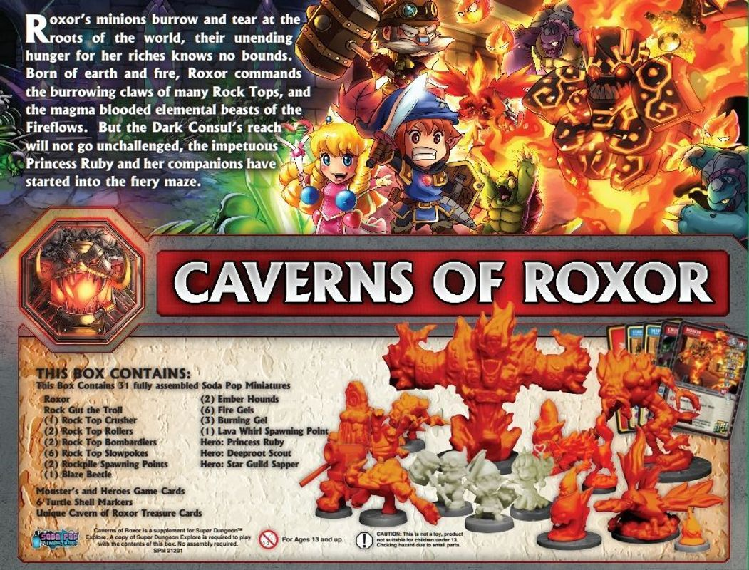 Super Dungeon Explore: Caverns of Roxor back of the box