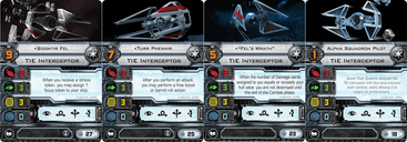 Star Wars: X-Wing Miniatures Game - TIE Interceptor Expansion Pack cards