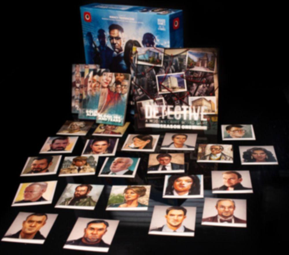 Detective: A Modern Crime Board Game – Season One components