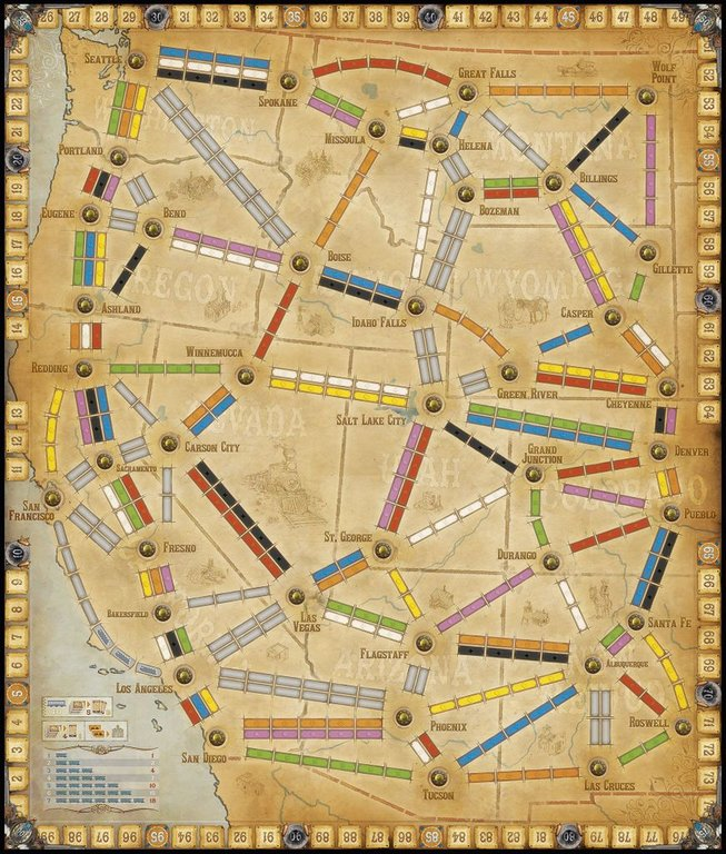 Ticket to Ride Map Collection: Volume 6 - France & Old West game board
