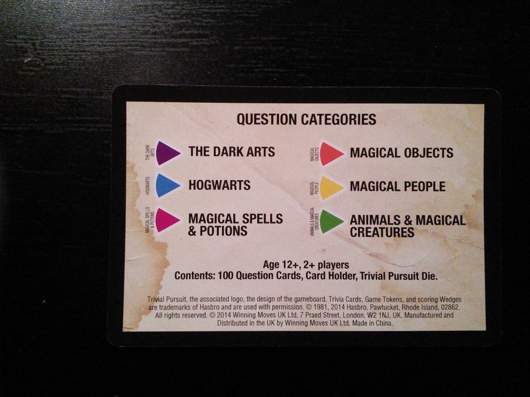 Trivial Pursuit: World of Harry Potter cards