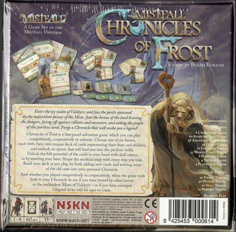 Chronicles of Frost back of the box