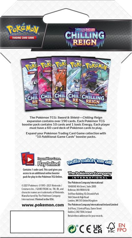 Pokémon TCG: Sword & Shield-Chilling Reign Sleeved Booster Pack back of the box