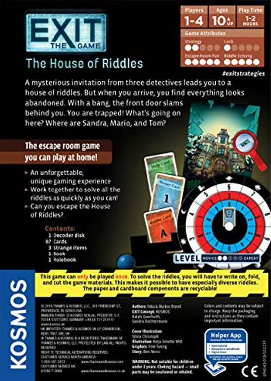 Exit: The Game - The House of Riddles back of the box