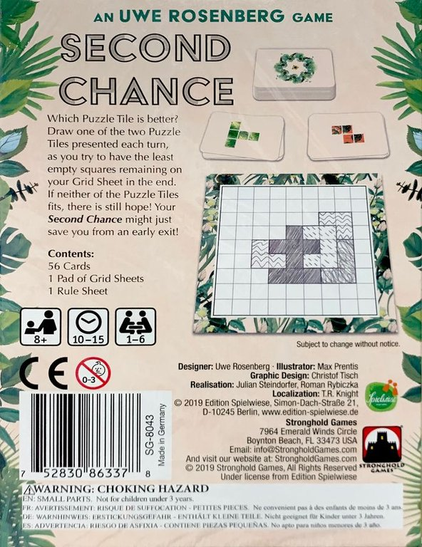 Second Chance back of the box