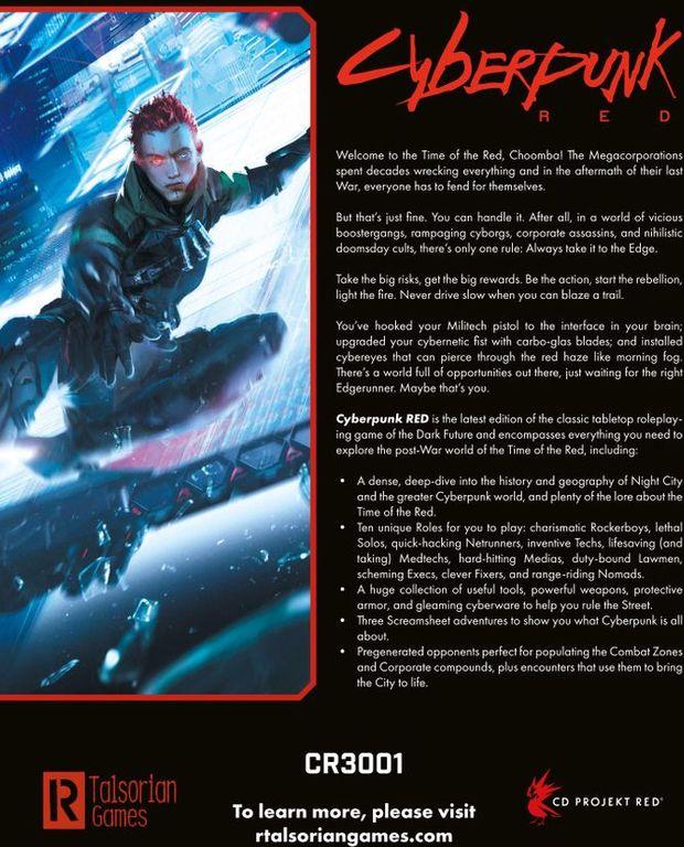 Cyberpunk RED (Core Rulebook) back of the box