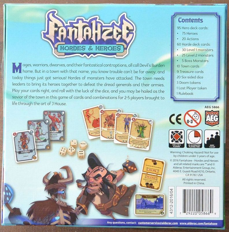 Fantahzee: Hordes & Heroes back of the box