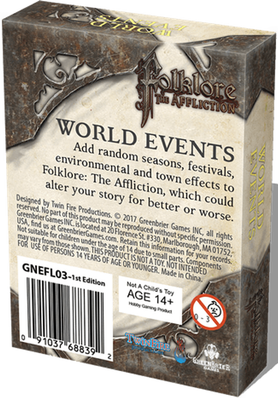 Folklore: The Affliction - World Events dos de la boîte
