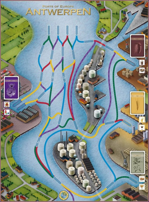 Ports of Europe: Antwerpen game board