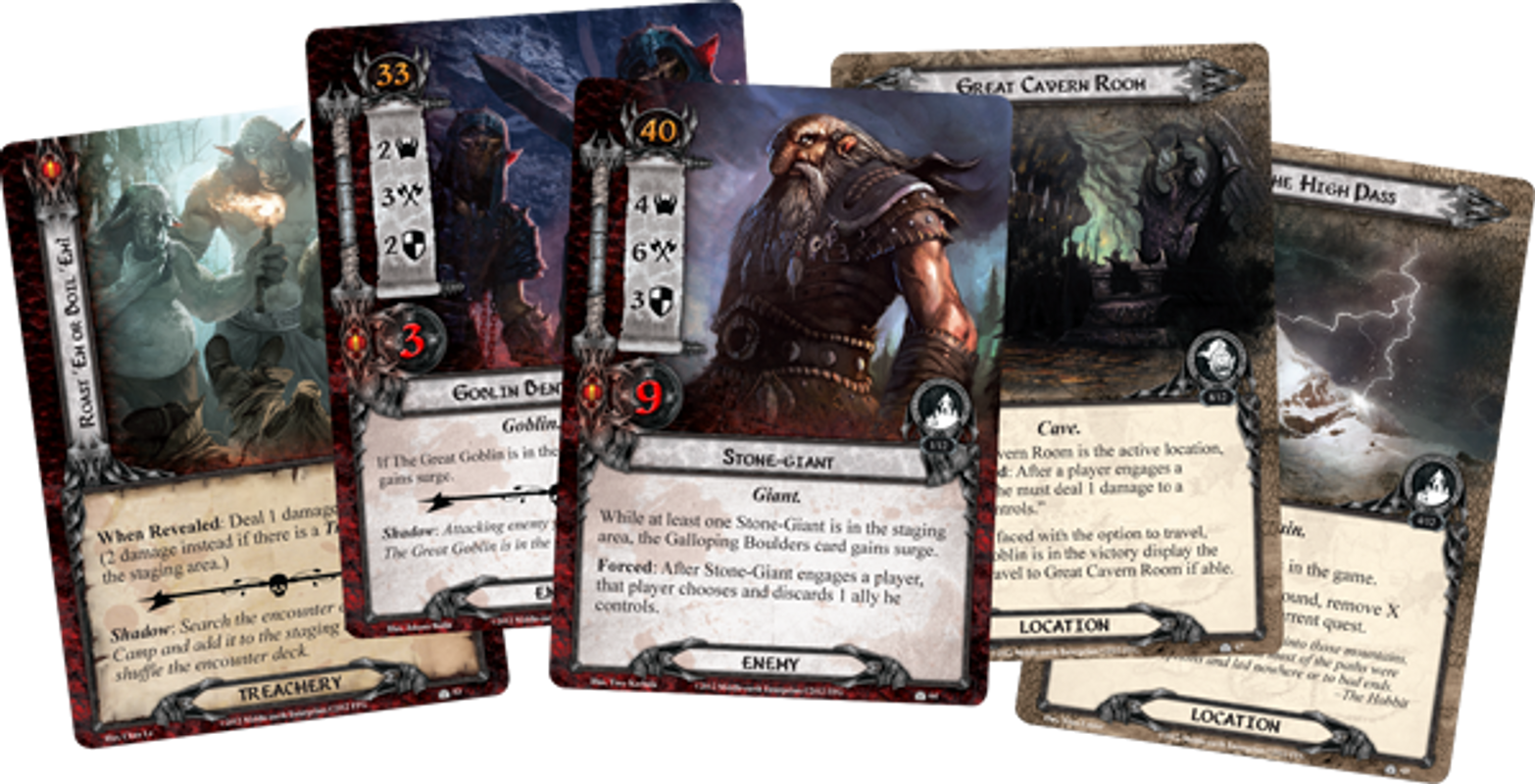 The Lord of the Rings: The Card Game - The Hobbit: Over Hill and Under Hill cards