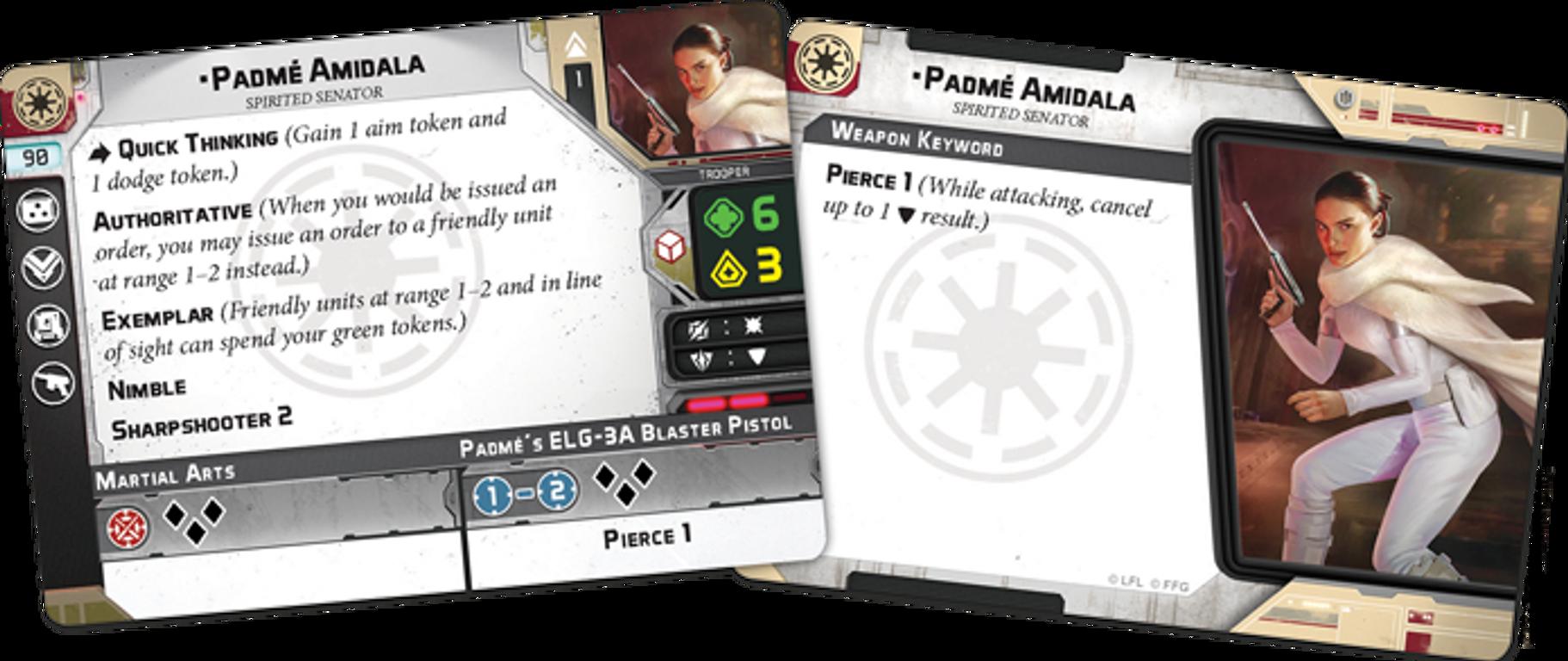 Star Wars: Legion - Padmé Amidala Operative Expansion cards