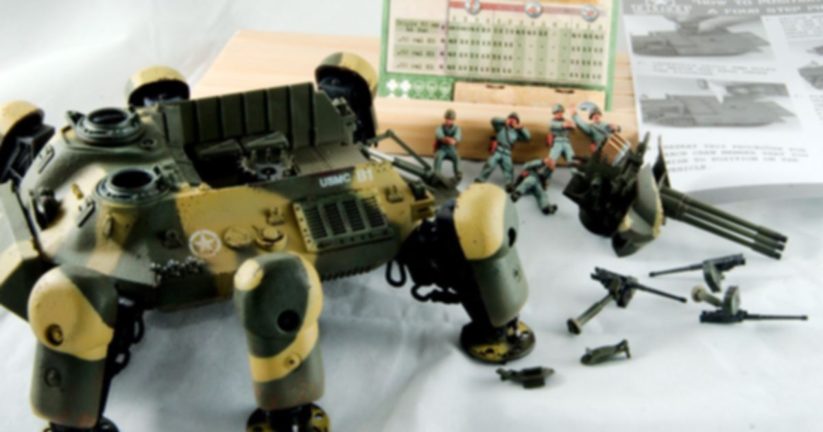 """Dust Tactics: Allies Heavy Support Walker - """"Long Tom II / Mobile HQ / Skysweeper"""" components"""