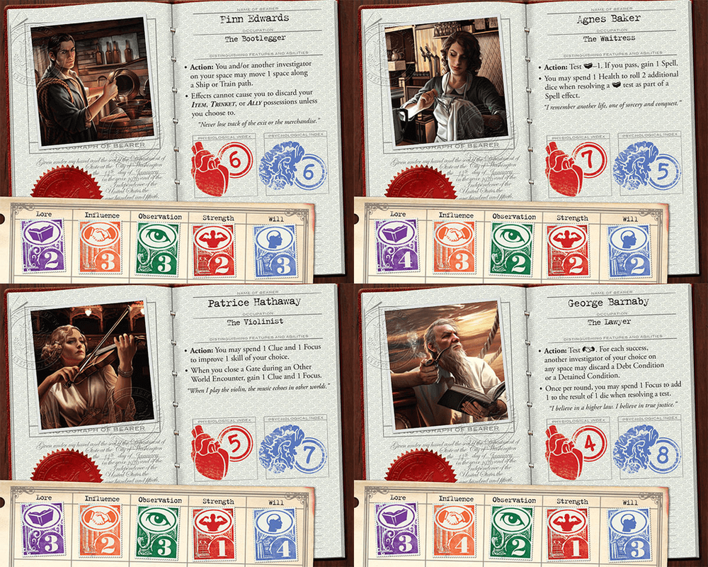 Eldritch Horror: Mountains of Madness characters
