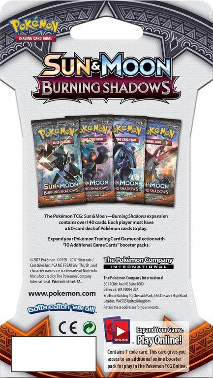 Pokémon TCG: Sun & Moon-Burning Shadows Sleeved Booster Pack back of the box