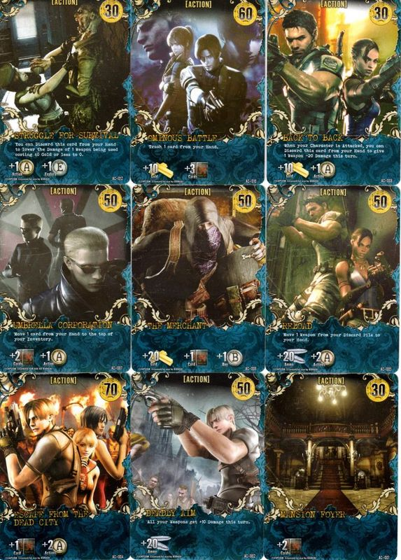 Resident Evil Deck Building Game cards