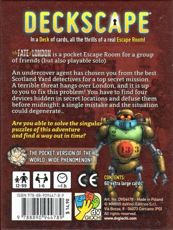 Deckscape: The Fate of London back of the box