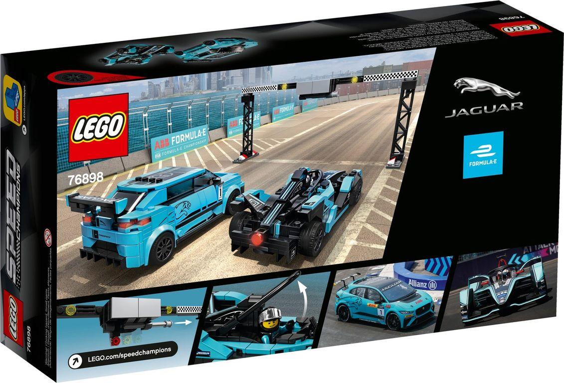 LEGO® Speed Champions Formula E Panasonic Jaguar Racing GEN2 car & Jaguar I-PACE eTROPHY back of the box
