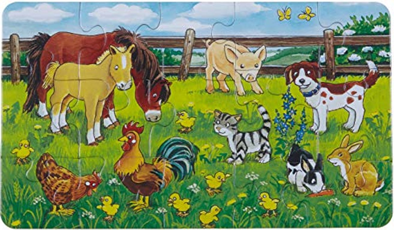 Farm animals in the meadow